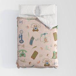 Retro Phones in pink Comforters
