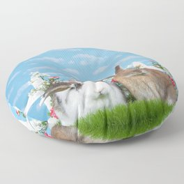 Bunny Love two rabbits in a flower garden Floor Pillow