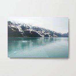 Hubbard Glacier Snowy Mountains Alaska Wilderness Metal Print