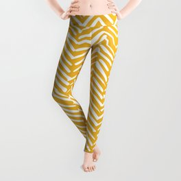 Boho Abstract Herringbone Pattern, Summer Yellow Leggings