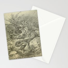 Vintage Print - Animals in Action (1901) - Water Moccasin Snake frog-hunting Stationery Cards