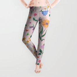 Spring Garden Tossed Pattern Leggings