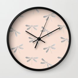 dragonfly pattern: silver & rose Wall Clock