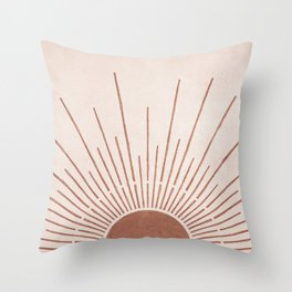 Sun #5 Terracotta Throw Pillow