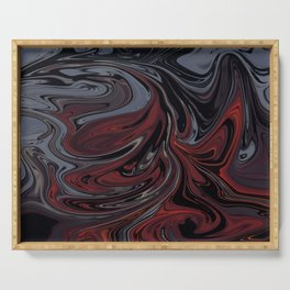 Grey & Red Abstract Painting Serving Tray