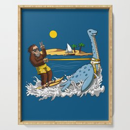 Bigfoot Riding Loch Ness Monster Conspiracy Serving Tray