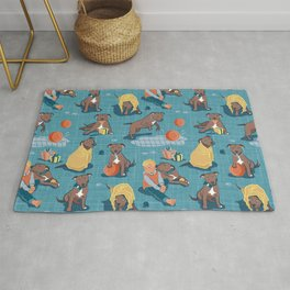 Memories of a Sweet Pit Bull Doggie Friend named Venice // blue linen texture background Rug