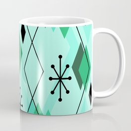 Mid Century Modern Scattered Diamonds Mint Green Coffee Mug