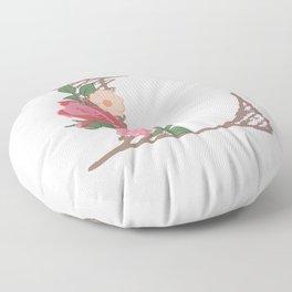 """Rose Gold Floral Letter """"L"""" Floor Pillow"""