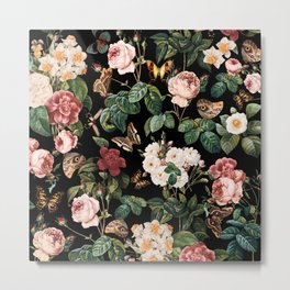 Floral and Butterflies Metal Print