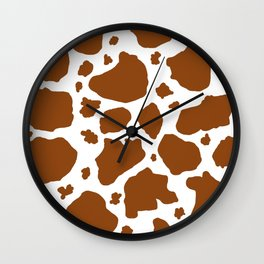 cocoa milk chocolate brown and white cow spots animal print Wall Clock