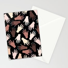 Nail Expert Studio - Colorful Manicured Hands Pattern on Black Background Stationery Cards