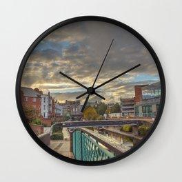 Foot Bridge at Gas Street Basin Wall Clock