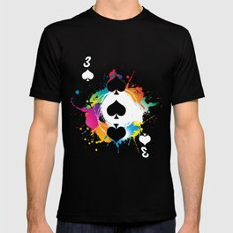 3 Spades Colorful Splatter Pokerchips Dice Games Cardgames Strategy Gift T-shirt