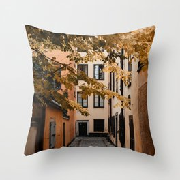 Autumn in Stockholm, Sweden   Gamla Stan   old city centre   alley   old buildings   colored houses   bright colors   city print   travel photography   travel print   art print Throw Pillow