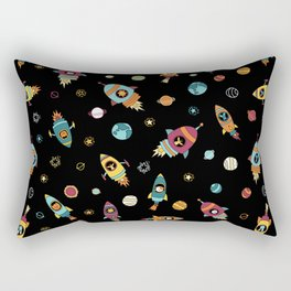 Space Ship Animals Seamless Pattern Rectangular Pillow
