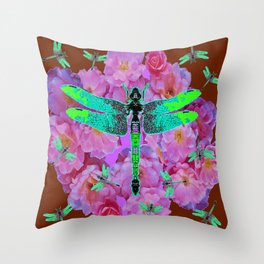EMERALD DRAGONFLIES  PINK ROSES COFFEE BROWN Throw Pillow