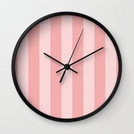 Large Blush Pink Beach Hut Stripes Wall Clock