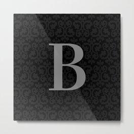 Modern Black Grey Damask Letter B Monogram Metal Print