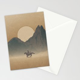 Roaming Paladin: A Riding Cowboy On Horseback Western Sunset Stationery Cards