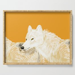 Totem white wolf nubilus Serving Tray