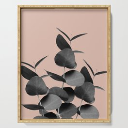 Eucalyptus Leaves Black Gray White Pale Terracotta #1 #foliage #decor #art #society6 Serving Tray
