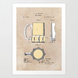 patent Beer Mugs Art Print