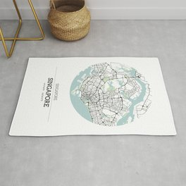 Singapore City Map with GPS Coordinates Rug