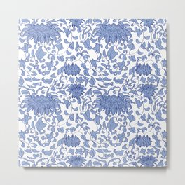 Chinoiserie Vines in Delft Blue + White Metal Print