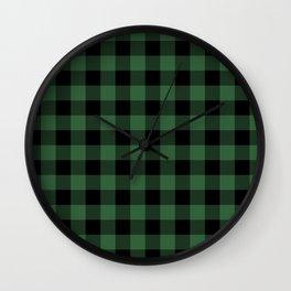 Green Flannel Buffalo Plaid Lumberjack Wall Clock
