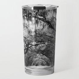 Spanish Moss on Southern Live Oak Trees black and white photograph / black and white art photography Travel Mug