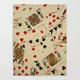 Scattered Playing Cards Texture Photograph Poster