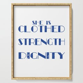 Clothed With Strength And Dignity t-shirt She Laughs Without Fear Of Future Breast Cancer Awareness Serving Tray