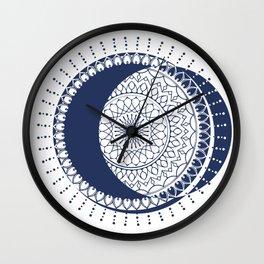 Moon Mandala (Dark Blue) Wall Clock