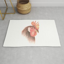 Rooster portrait watercolor Rug