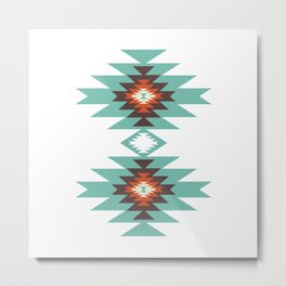 Southwest Santa Fe Geometric Tribal Indian Abstract Pattern Metal Print