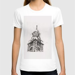 clock tower print 4 T-shirt