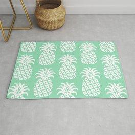 Retro Mid Century Modern Pineapple Pattern Mint Green 2 Rug