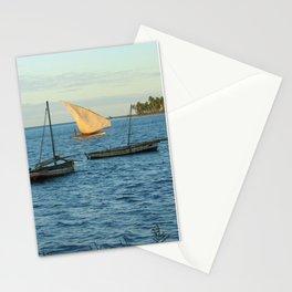 Fishing Boats Sailboats Yellow Sail Seascape Stationery Cards