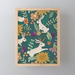 Floral Jackalopes Framed Mini Art Print