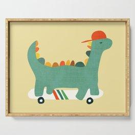 Dinosaur on retro skateboard Serving Tray