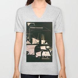 Modern Metropolis- Black and White Abstract  Unisex V-Neck