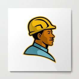African American Construction Worker Mascot Metal Print
