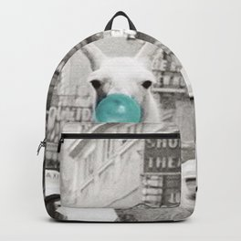 Mint Green Bubble Gum Llama taking a New York Taxi black and white photograph Backpack