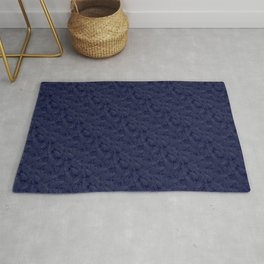 Muted '90s Fern Background Grid at Dusk – Deep Blue Rug