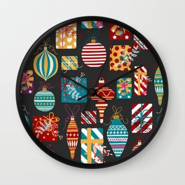 Christmas Ornaments and Presents Pattern Wall Clock