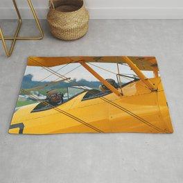 Oldtimer yellow plane Rug