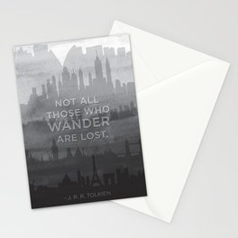 """""""Not all those who wander are lost"""" -- J. R. R. Tolkien quote poster Stationery Cards"""
