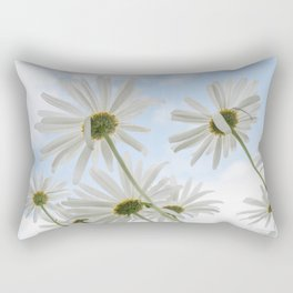 Remembrance Delicate White Daisies against Light Blue Cloudy Sky Rectangular Pillow