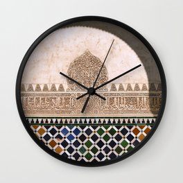 Arrayanes courtyard. Wall details. The Alhambra palace. Wall Clock